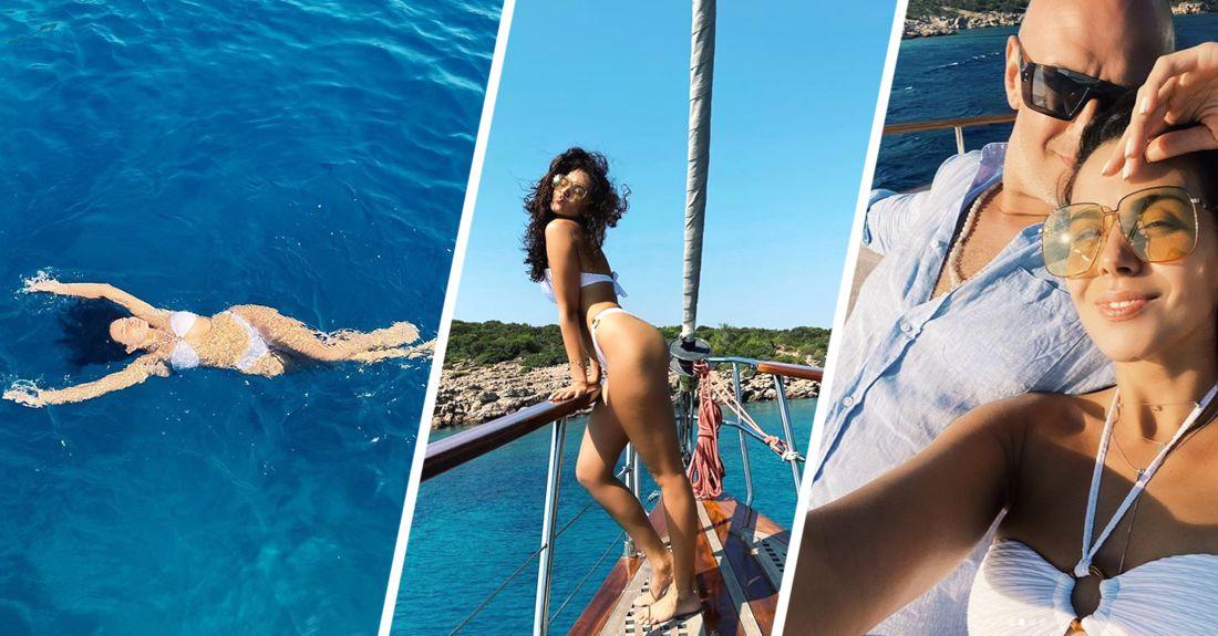 Настя Каменских показала фото с мужем во время отдыха на яхте