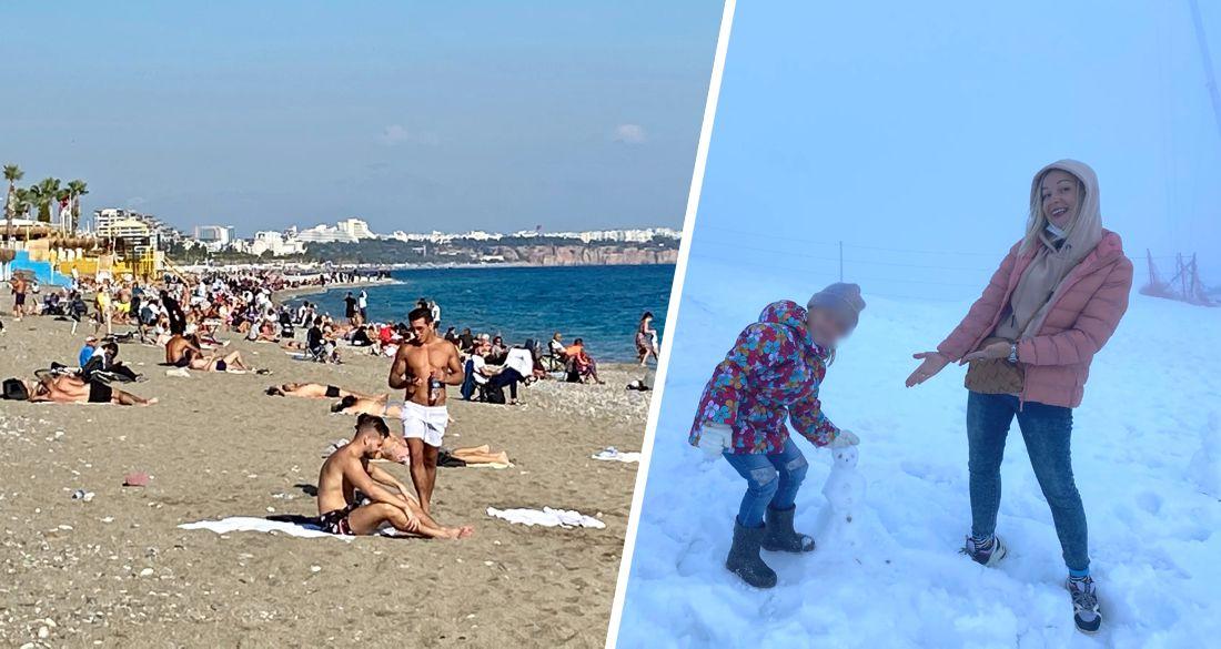 Российские туристы в Анталии: утром плаваем в море, вечером играем в снежки