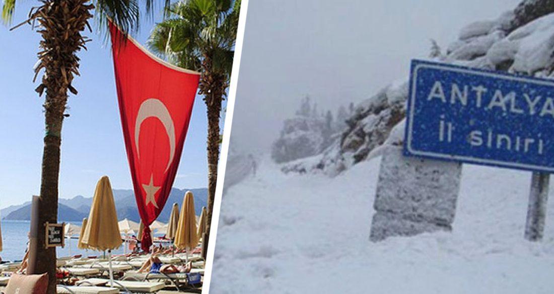 ❋ В Анталье готовят лыжи: выпало 10 сантиметров снега