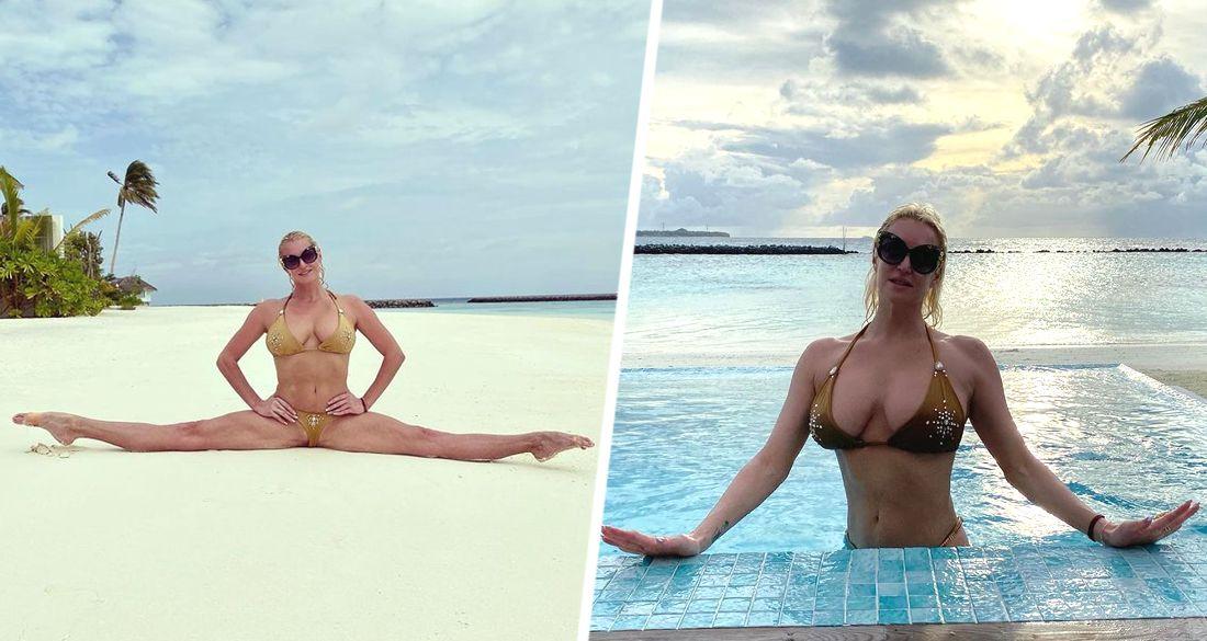 Волочкова на Мальдивах продемонстрировала пикантное бикини и фирменный шпагат