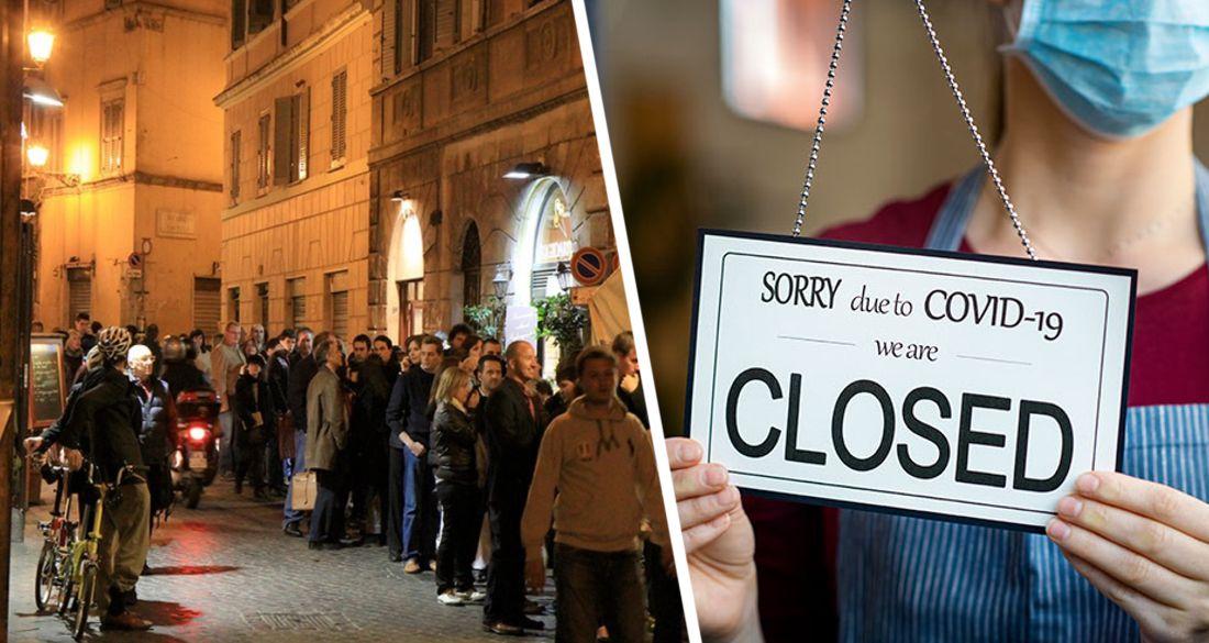 В Италии выстроились очереди за едой напротив пустых ресторанов