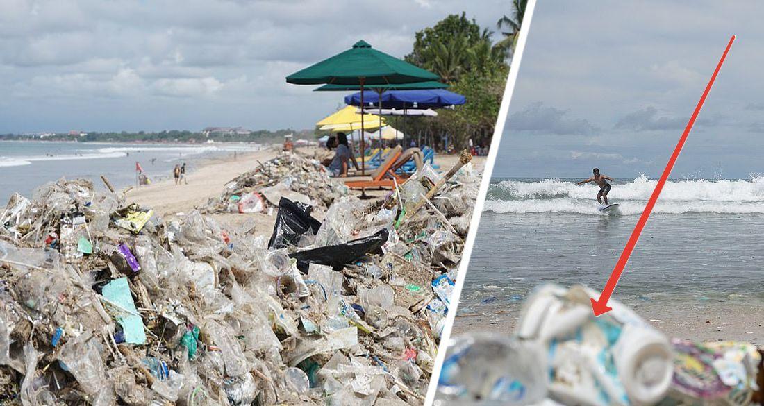 Популярные у туристов пляжи Бали превратились в мусорные свалки. ФОТО