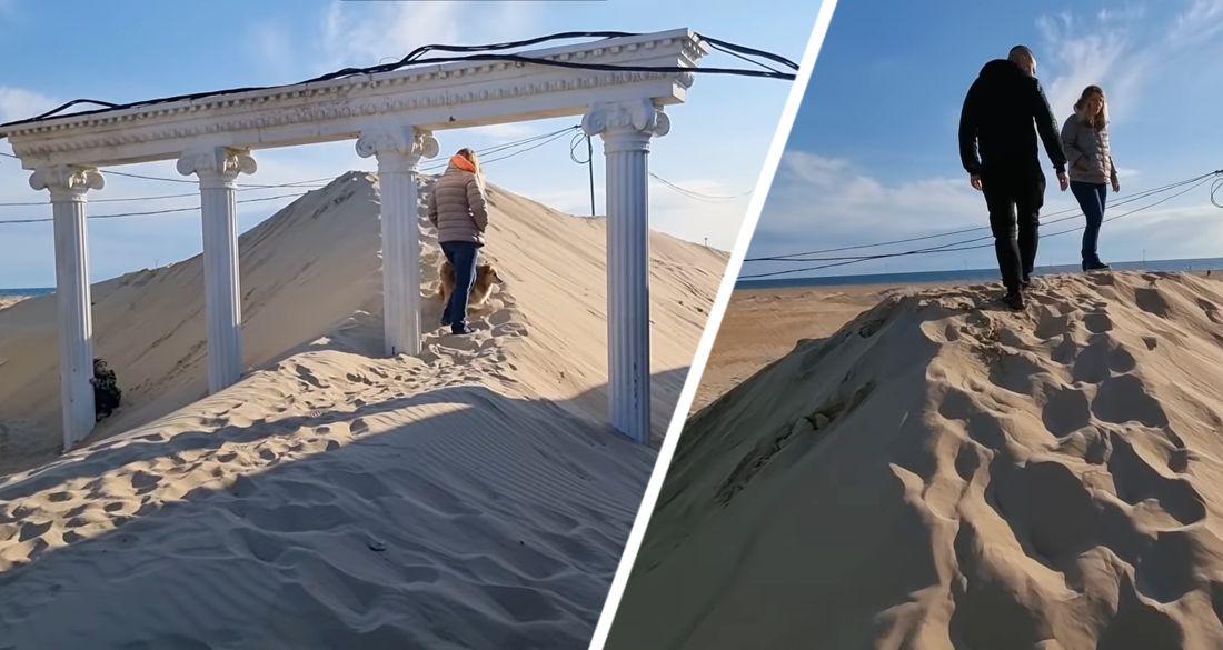 Главный детский курорт на море занесло песком: теперь дюны прямо на улицах. ВИДЕО