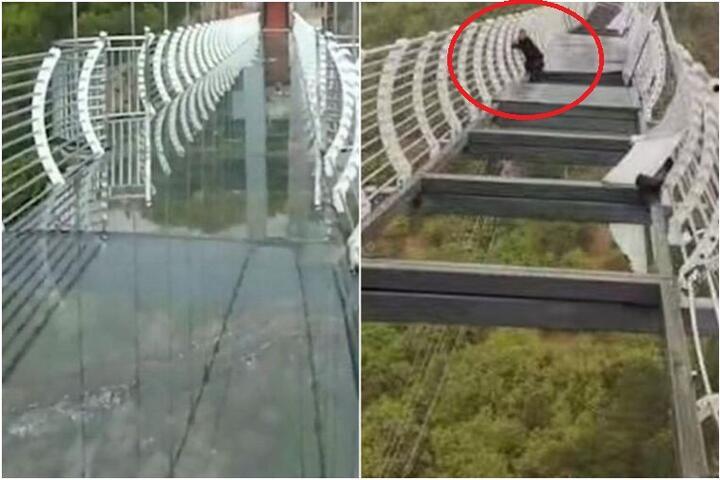 В Китае турист около часа провел на разрушенном ветром стеклянном мосту