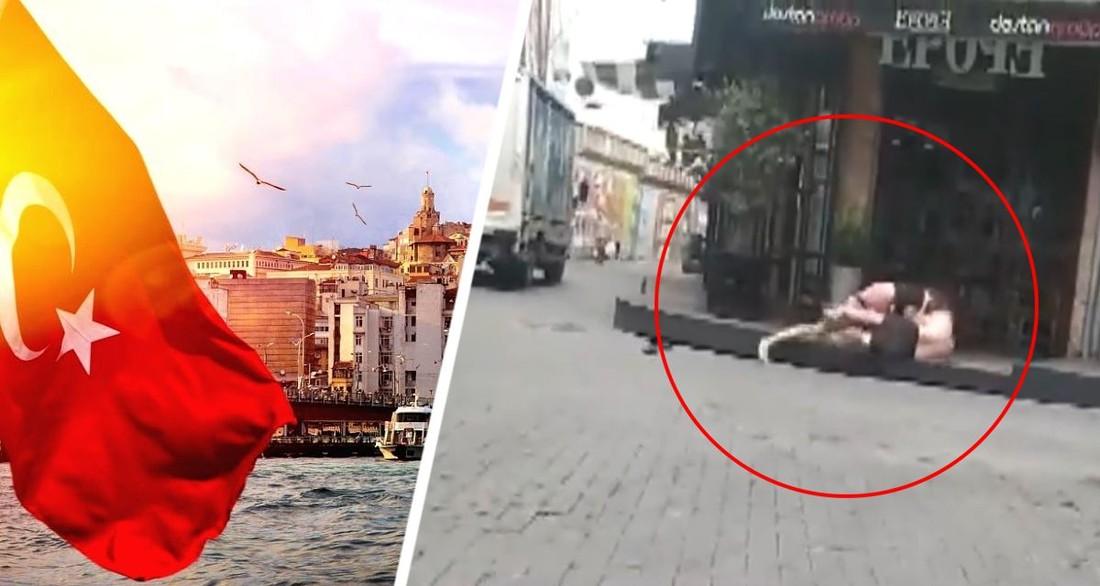 В Турции два туриста в трусах устроили драку посреди улицы