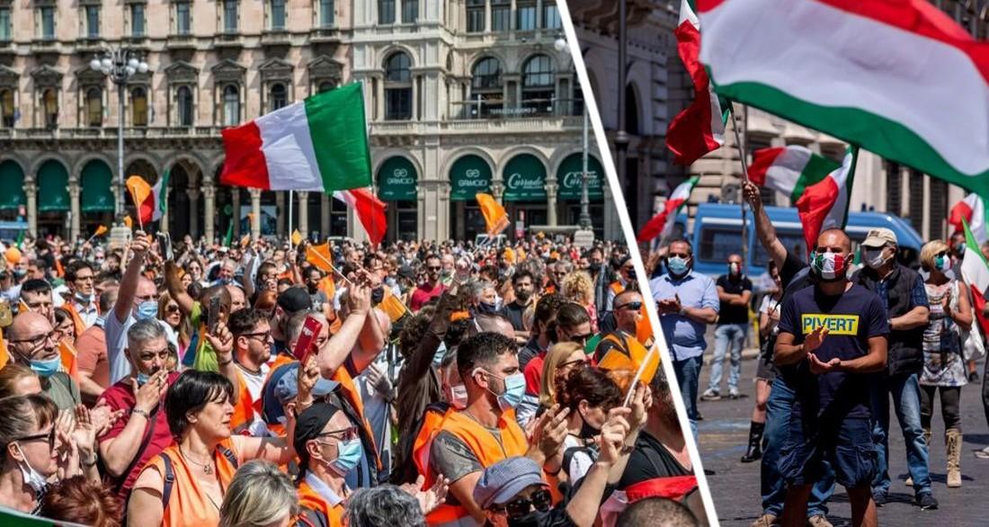В Италии вспыхнули массовые протесты против паспорта вакцинации