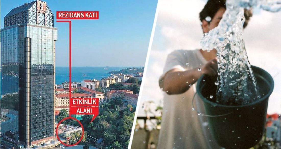 В Турции в люксовом отеле на головы смотрящих кино клиентов вылили 7 ведер воды